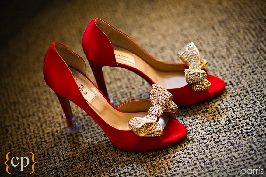 elegant red wedding shoes with gold bows | OneWed.com