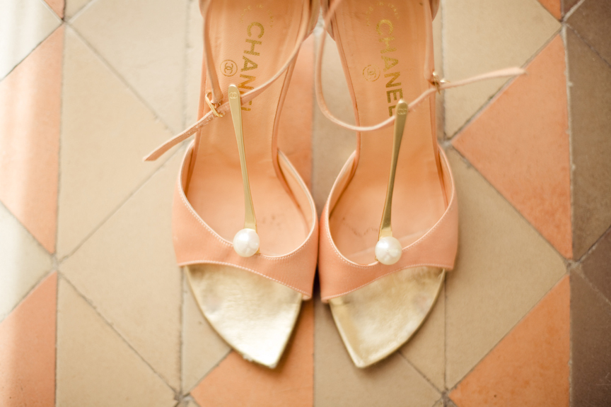 peach gold wedding shoes Chanel