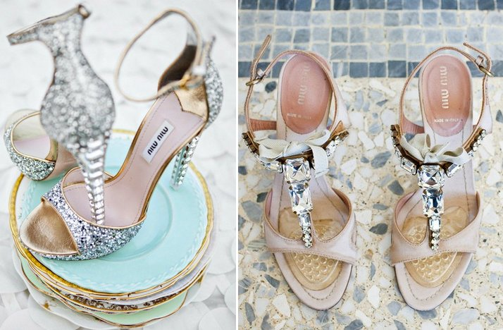 bridal accessories glam wedding shoes Miu Miu