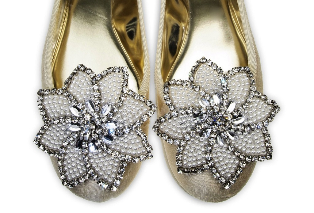 embellished flower wedding shoe clips