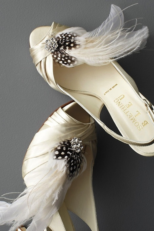pretty little wedding shoe clips fun affordable bridal accessories black ivory feathers