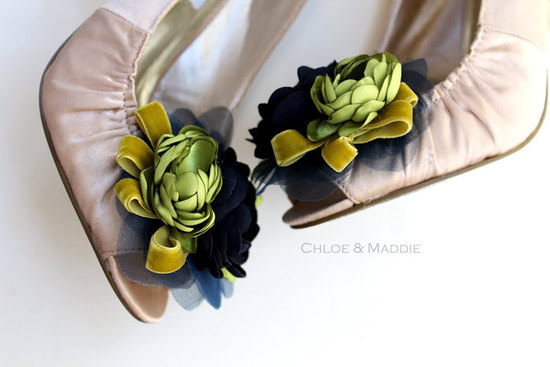 pretty little wedding shoe clips fun affordable bridal accessories green yellow navy