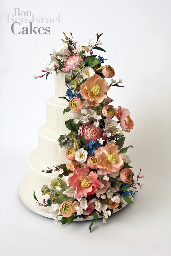 wedding cake inspiration Ron Ben Isreal wedding cakes romantic florals