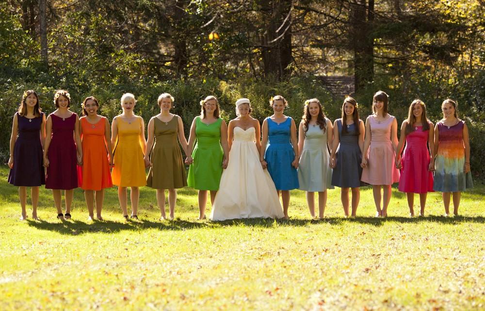 Rainbow bridesmaids for casual outdoor wedding onewed com