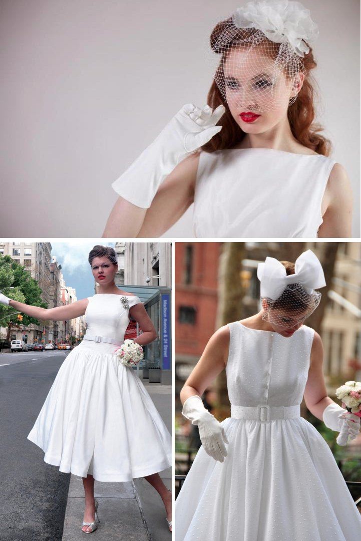 Vintage inspired tea length wedding dresses fancy new york for Retro tea length wedding dress