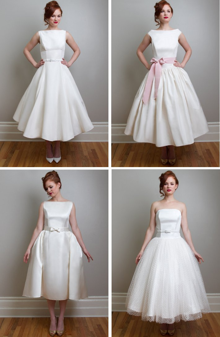 Vintage inspired tea length wedding dresses fancy new york for Vintage wedding dresses tea length