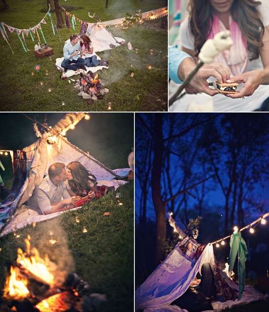 rustic engagment session in the woods bride groom roast marshmellos