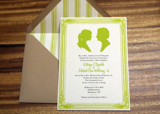 wedding inspiration decor details elegant themes silhouettes apple green kraft paper invitations