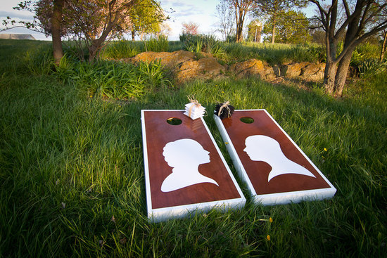 wedding inspiration decor details elegant themes silhouettes cornhole