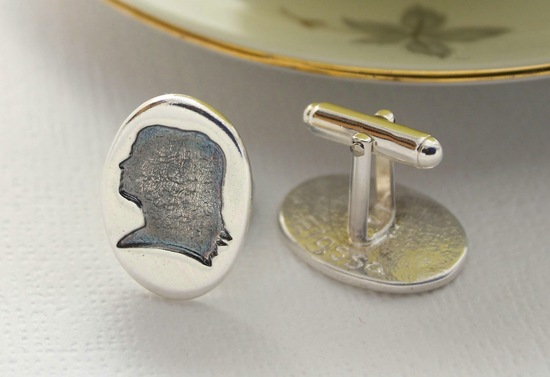 custom cufflinks for the groom silhouettes