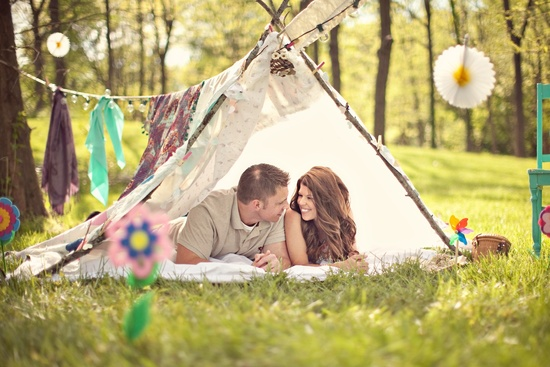 wedding photography unique engagement session outdoors rustic romance bride groom in handmade teepee