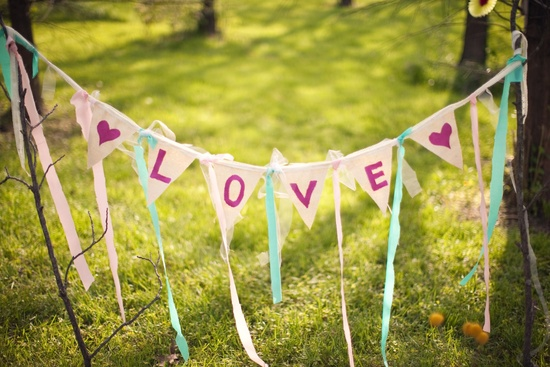 wedding photography unique engagement session outdoors rustic romance Love bunting banner