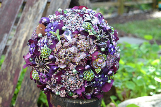 brooch bridal bouquet purple green vintage