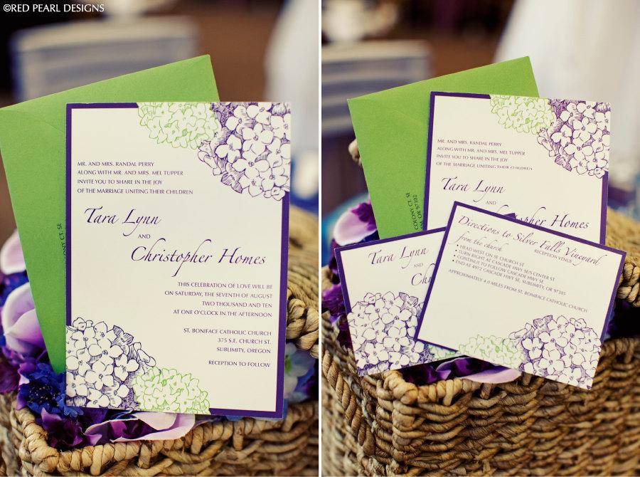 purple green wedding invitation