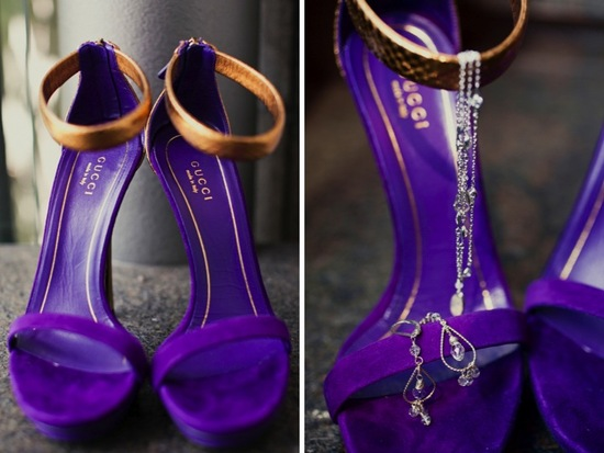 purple green wedding inspiration elegant bridal style Gucci shoes