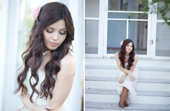 Curled wedding hairstyle
