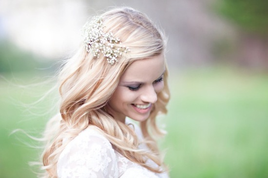Bridal wedding hair with babys breath hair piece