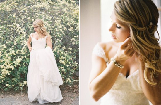 Pinned almost all down wedding hairstyle