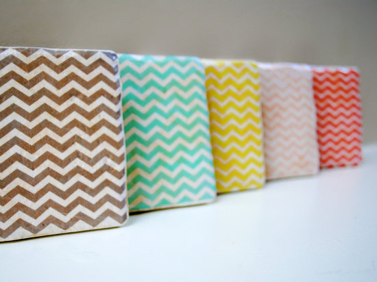 wedding guest favors chevron stone coasters