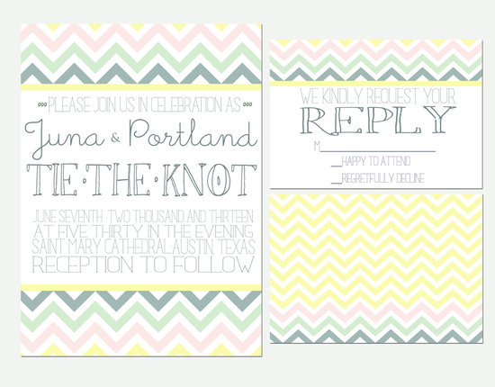 chevron wedding inspiration colorful pastel invitations