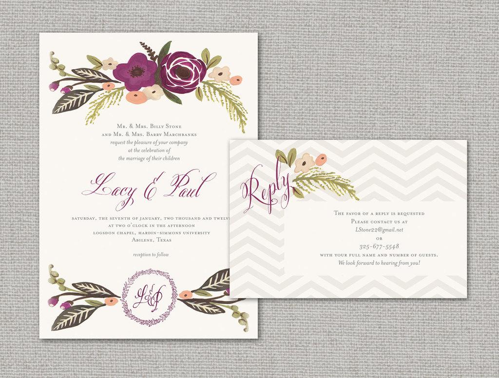 Wedding Invitations Elegant: Elegant Wedding Invitations With Florals Chevron