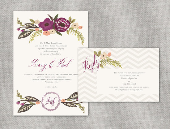 elegant wedding invitations with florals chevron