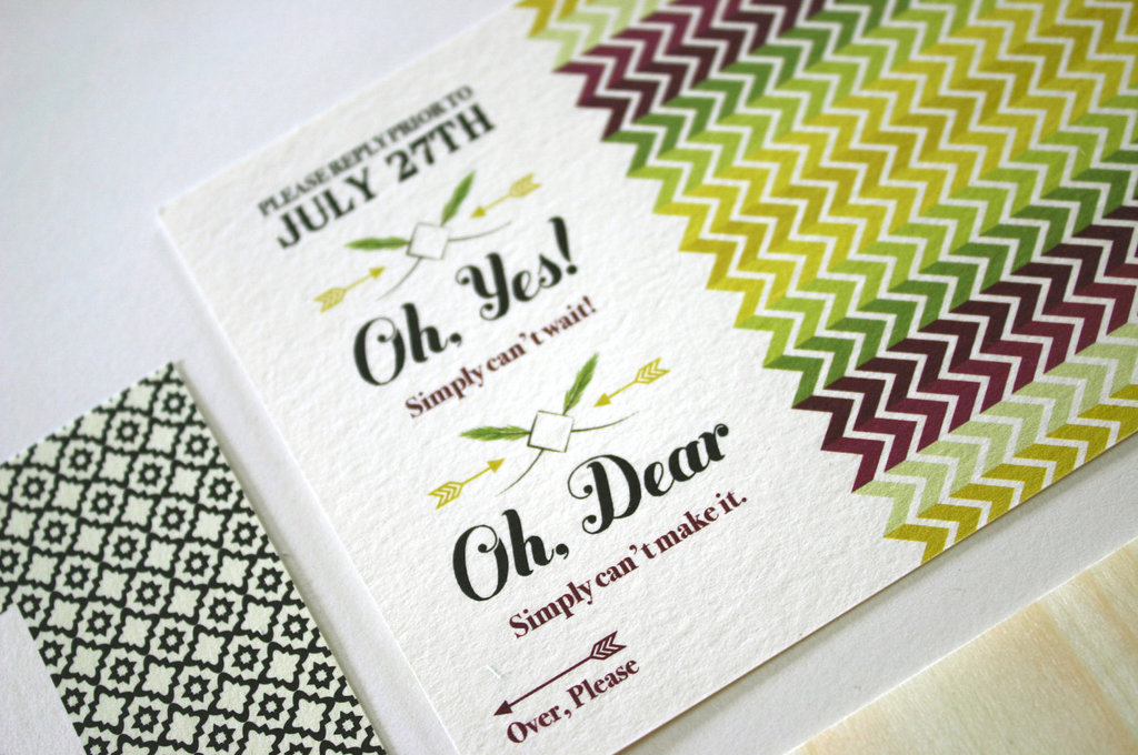 wedding invitations response card greens maroon ivory
