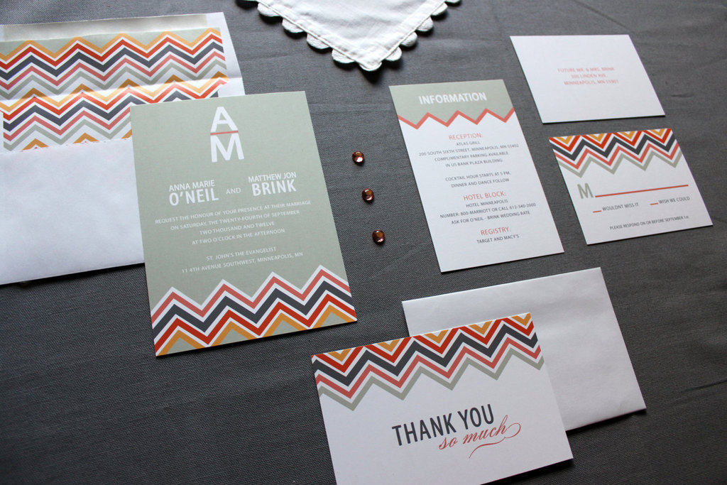 chevron wedding inspiration wedding decor details for the reception stationery suite