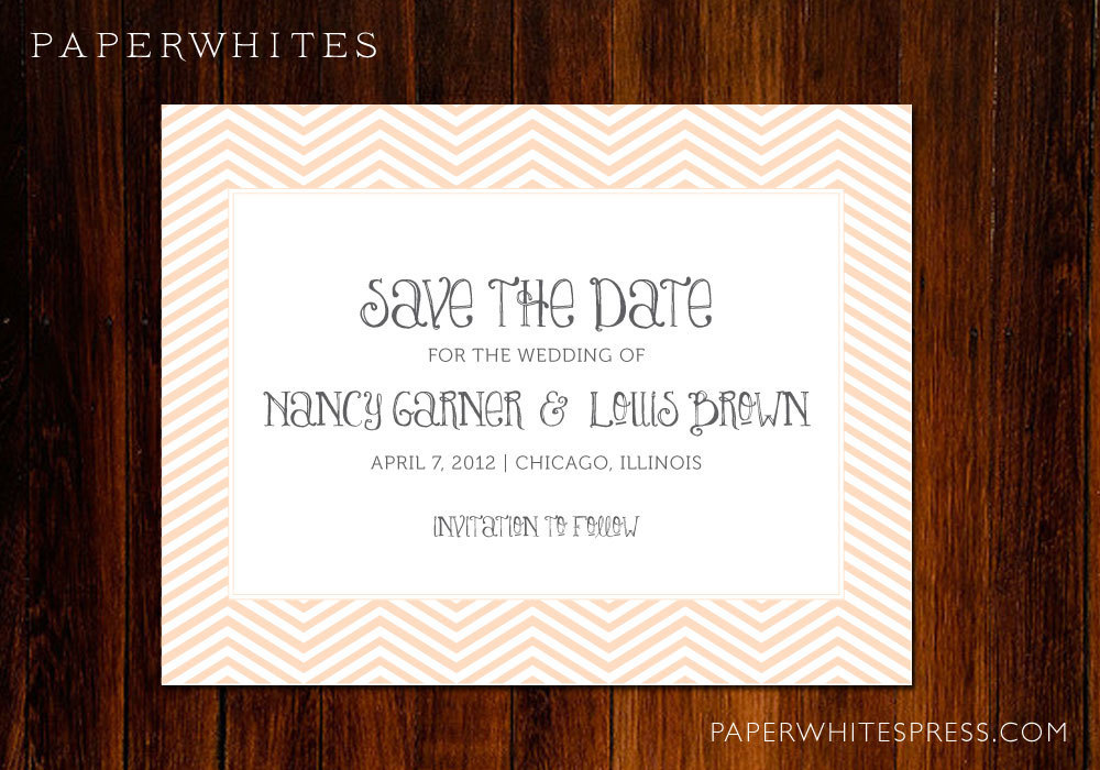 hand calligraphied wedding save the date chevron letterpress