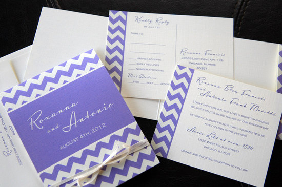 chevron wedding inspiration wedding decor details for the reception purple white invitations