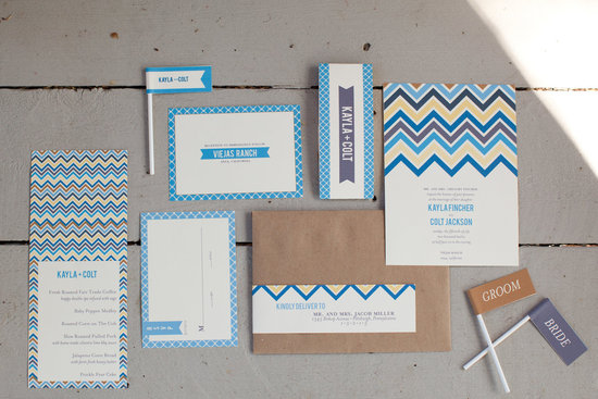 chevron wedding inspiration stationery set from Etsy