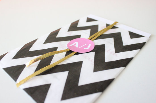black white wedding invitatation chevron print pink gold pops