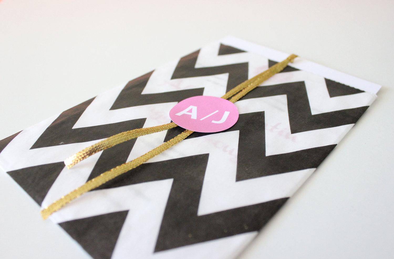 black white wedding invitatation chevron print pink gold