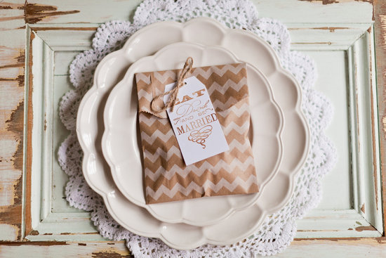 chevron wedding inspiration guest favor bags