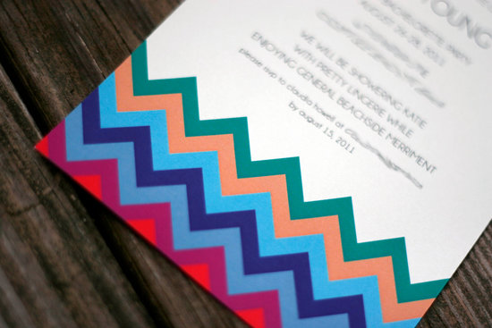 chevron letterpress wedding invitations