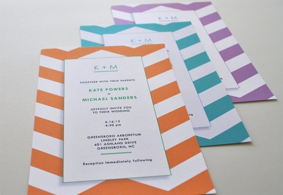 chevron wedding invitations white orange teal lilac
