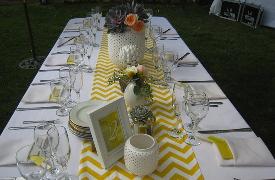 chevron wedding inspiration wedding decor details for the reception outdoor tablescape