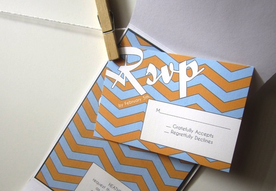 chevron wedding inspiration RSVP card light blue gold