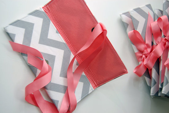 chevron wedding inspiration clutches for bridesmaids gray white coral