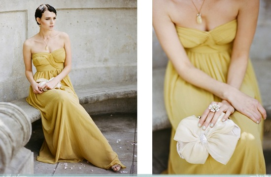 stylish bridesmaids dresses from Ruche affordable bridal party attire long mustard