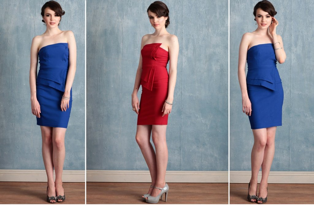 Ruche bridesmaids dresses stylish rich bridal party red blue cocktail dress