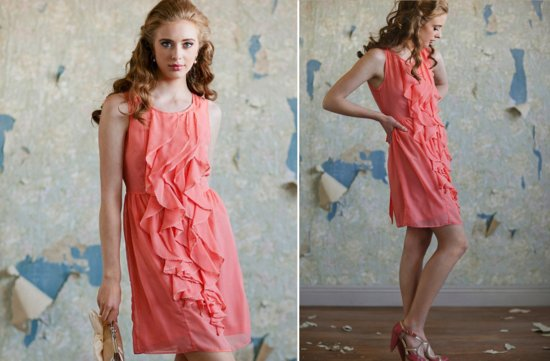 ruche bridesmaids dresses afforadable stylish bridal party attire coral