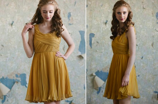 ruche bridesmaids dresses afforadable stylish bridal party attire mustard