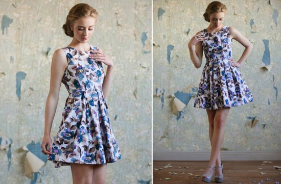 Ruche bridesmaids dresses stylish bridal party attire floral printed blue purple white