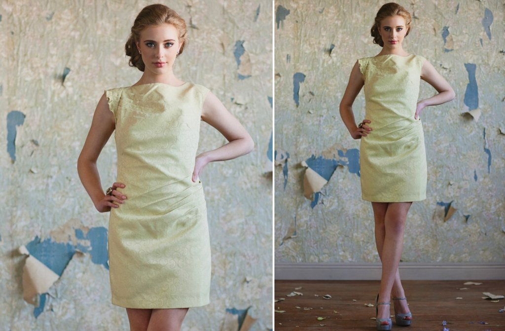 Ruche-bridesmaids-dresses-stylish-bridal-party-attire-pastel-yellow.full