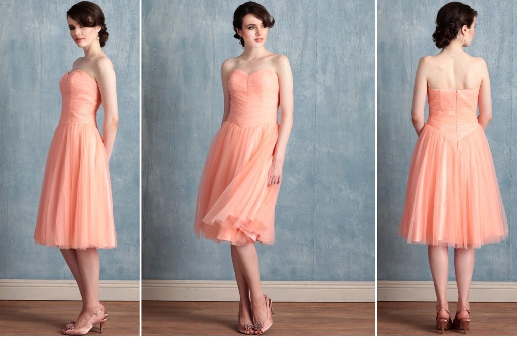 Ruche-bridesmaids-dresses-stylish-colorful-bridal-party-attire-coral.full