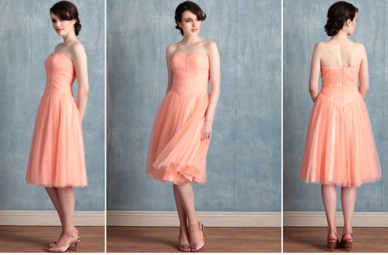 Ruche bridesmaids dresses stylish colorful bridal party attire coral