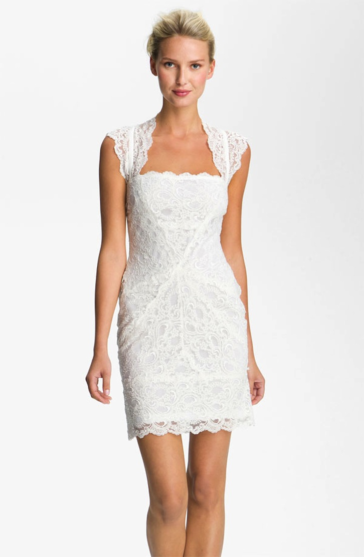 Lace little white wedding dresses for the wedding for Nicole miller wedding dresses nordstrom