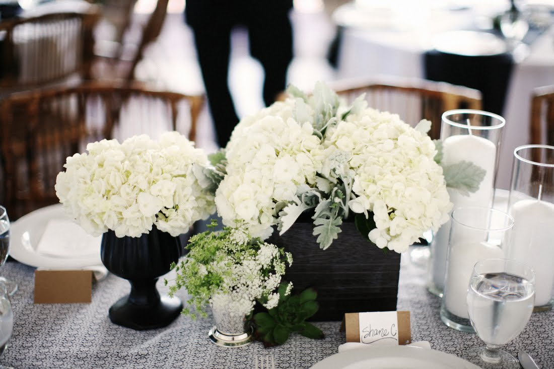 White hydrangea wedding centerpiece onewed