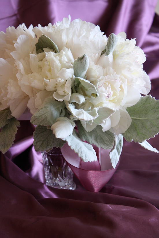 10 white wedding flowers we love bowl of cream peonies wedding centerpiece